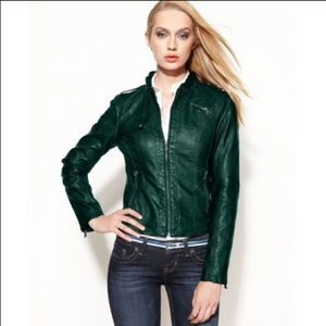 GUESS faux leather jacket in JADE 💚